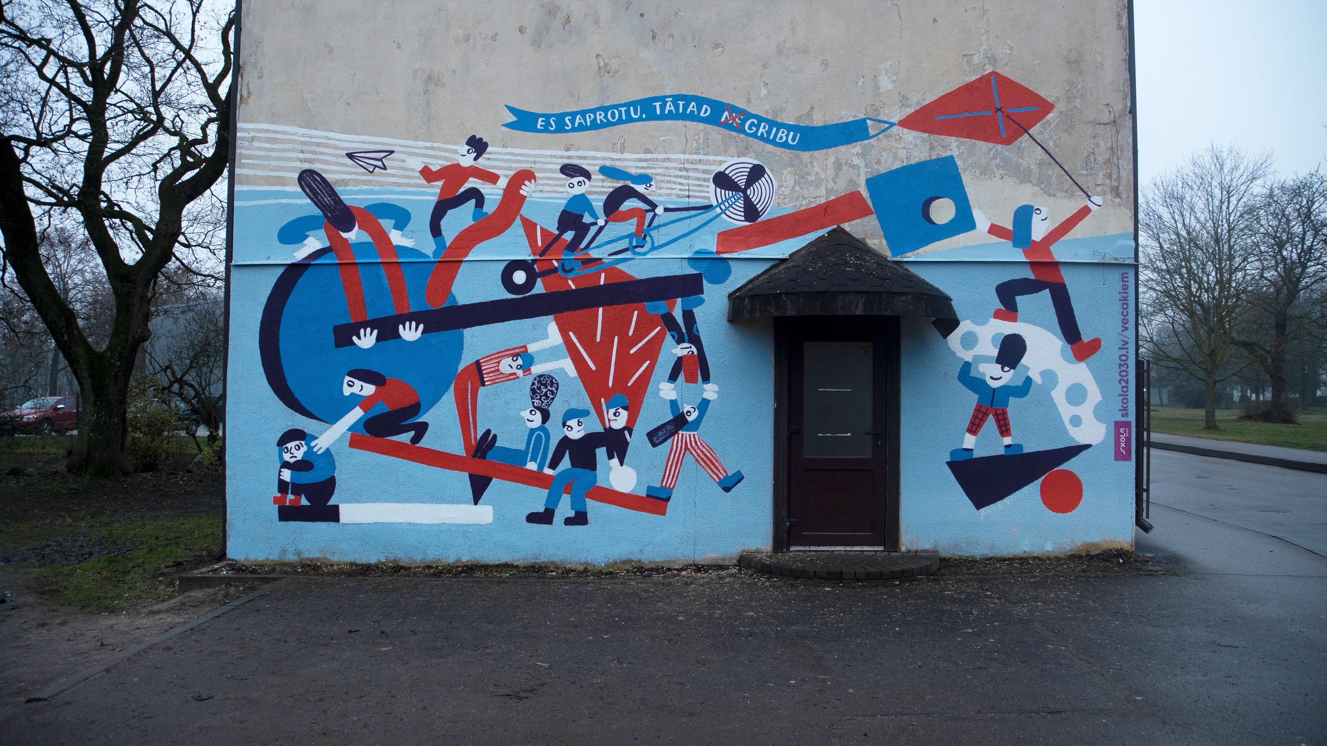 Māksliniece Anna Vaivare kopā ar Dobeles 1. vidusskolas skolēniem ir radījusi sienu zīmējumu Dobelē, lai atspoguļotu sociāli emocionālo prasmju svarīgumu.